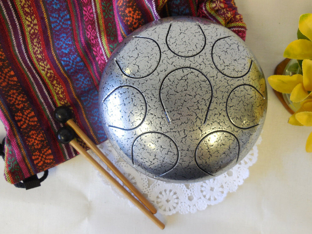 Steel Tongue Drum Handpan Tank,WuYou 8 Notes, 8in,  FREE Bag and Mallets