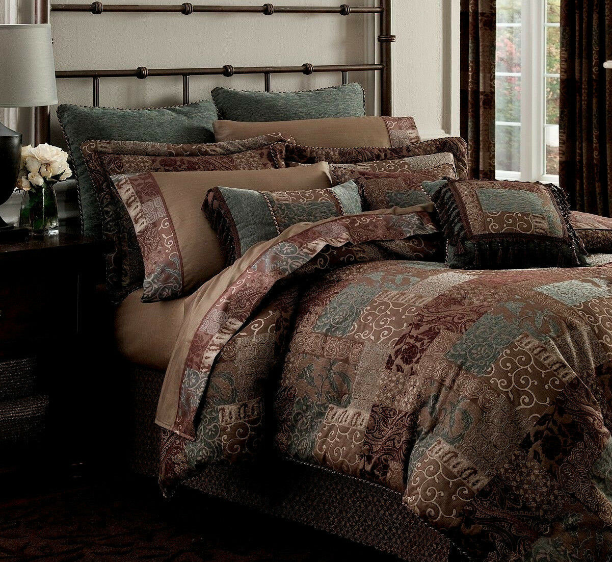 CROSCILL  400 CAL KING Comforter Bedding Set 4pc GORGEOUS Gold burgundy braun