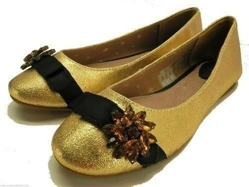 c3048317303 Fossil Marrissa Embellish Womens Size 6 Gold Leather Flats Shoes UK 5 EU 36  for sale online