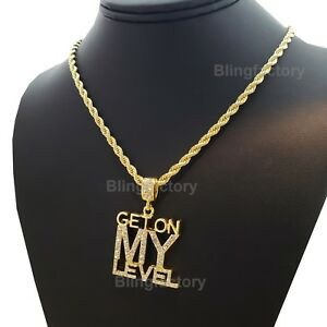 b80d1d5905656 Hip Hop Iced GET ON MY LEVEL Pendant & 4mm 24