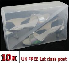 10x Clear Mens ladies shoe trainers Boxes Storage Box Organizer stackable