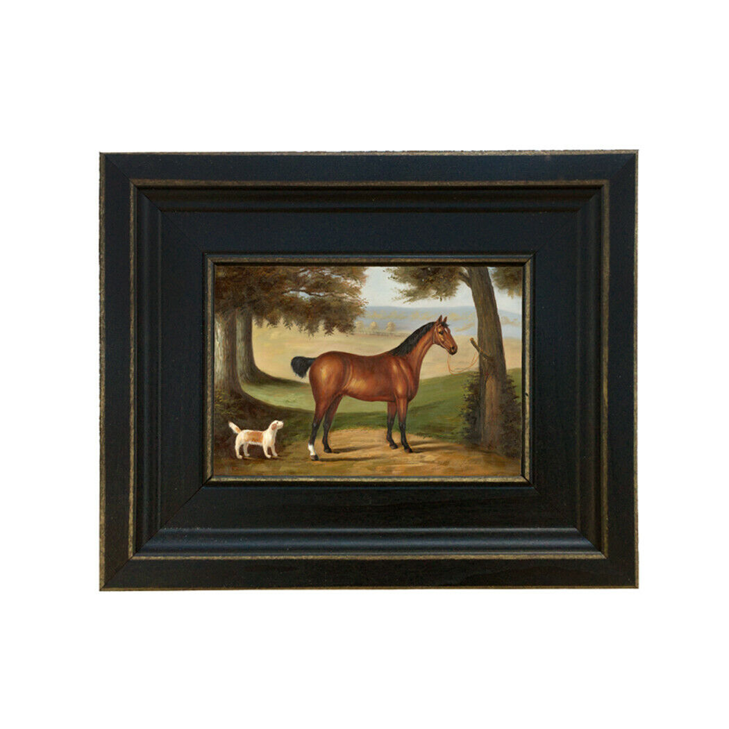 Horse and Dog Landscape Framed Oil Painting Print on Canvas in Distressed Black 8