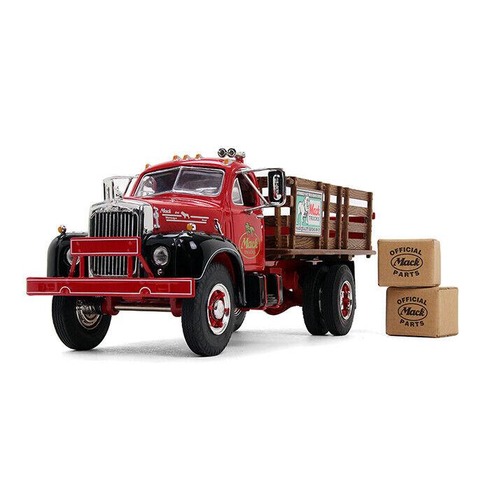FIRST GEAR rot schwarz MACK B-61 FULL STAKE TRUCK W 2 KRAFT BOXES 1 34 10-4171