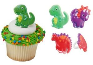 Dinosaur Cupcake Toppers Rings - 24 pcs Cake Toppers Birthday Party Dinosaurs
