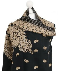 Black-Indian-100-Pashmina-Wool-Hand-Embroidered-Scarf-Shawl-Wrap-Stole-Kashmir