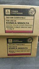 2 x MAGENTA TONER COMPATIBILI PER KONICA MINOLTA BIZHUB TN210M 8938511 C250 C252