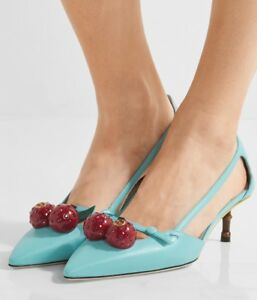 7df45894304 Image is loading GUCCI-Crystal-embellished-Cherries-Turquoise-Pointed-Toe- Pumps-