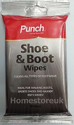 20 Salviette Punch Stivali Sport Shoe Muddy Scarpe Pulisce Pulizia Salviette 7786- Ultima Moda