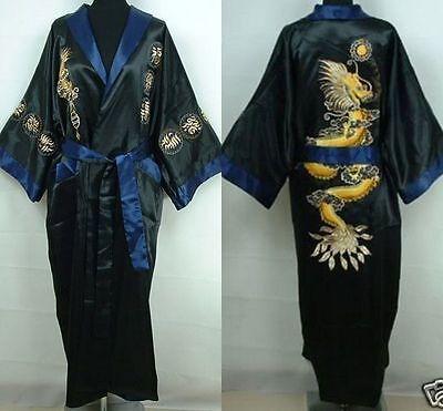 Double-face Chinese silk/satin Men's Kimono Robe Gown bathrobe,Black/Blue