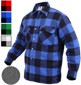 Plaid Flannel Shirt SHERPA Lined Extra Heavy Brawny Buffalo Check ... 7e51396f2e0