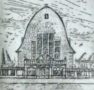 Ingo firmato-RARA ACQUAFORTE 1999: Kiel, vecchi pesce Halle