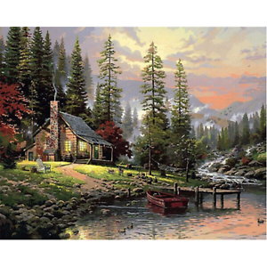 Hunting House Landscape Drawing Canvas Picture Oil DIY Paint Set By Numbers Kits