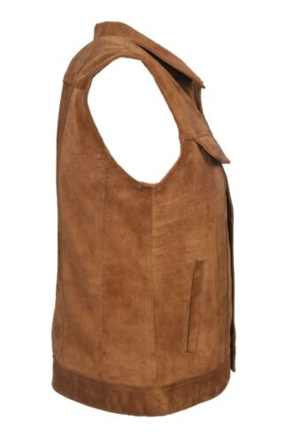 NEW LUXURY MENS TRUCKER WAISTCOAT TAN REAL LEATHER MOTORCYCLE STYLE RIDER NEW