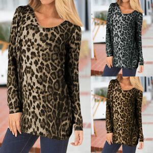 Mode-Femme-Loisir-Simple-Imprime-leopard-Manche-Longue-Col-Rond-Haut-Shirt-Plus