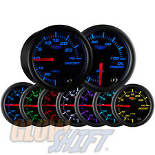 52mm GLOWSHIFT BLACK 7 COLOR TURBO BOOST/VACUUM & OIL PRESSURE GAUGE w SENSOR