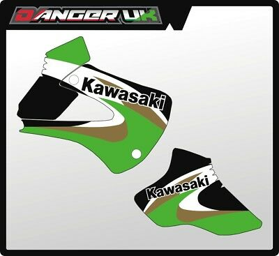 KAWASAKI KX 80 1998 1999 2000 TANK RAD SCOOPS RADIATOR SHROUDS GRAPHICS DECALS