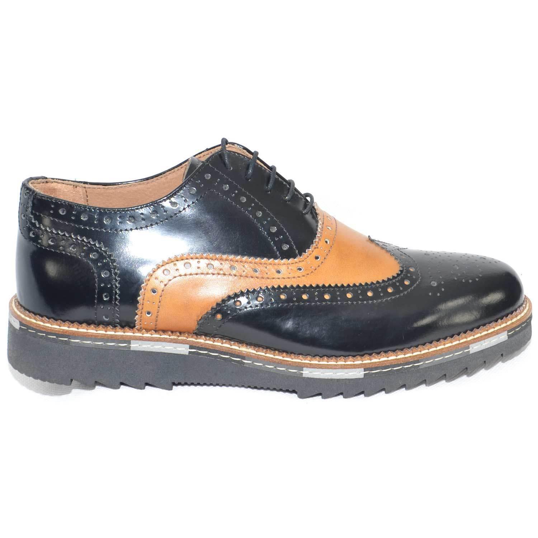 scarpe uomo stringate vera pelle in abrasivato nero bicolore made in pelle italy fondo an 31aa83