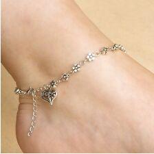 """10"""" Flower Barefoot Sandal Tibetan Silver Chain Anklet Bracelet Beach Gift S4"""
