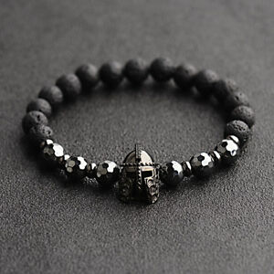 Fashion-Men-Women-Natural-Stone-Black-Helmet-Bracelets-Spartan-Knight-Bangle