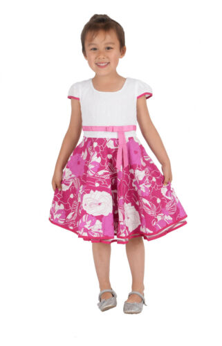 Cinda Girls Floral Summer Cotton Party Dress in Blue Pink 4 5 6 7 8 Years