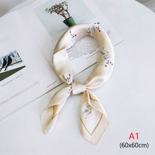 Wraps Handkerchief Dot Print Square Scarf Silk Feel Satin Small Scarves