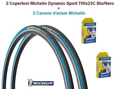 """2 Copertoni 2 Camera Michelin Dynamic Sport 700x23C Nero per Bici 28/"""" Corsa"""