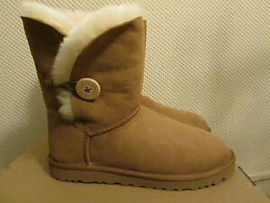 7bdbf0757d7 Details about UGG Australia Bailey Chestnut Brown Leather Fur Lined Boots  Button Size 9 NEW