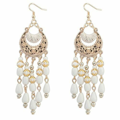 Women/'s Crescent Moon Ear Drops Dangles Tassel Crochet Boucles D/'oreilles Cadeau Bijoux