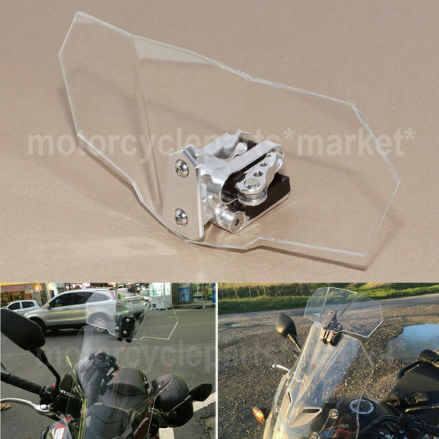 30b9352438 Motorcycle Clip-on Windshield Windscreen Extension Deflector Universal Fit