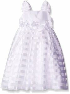 dfc0310c2db KLEINFELD Flower Girls 4 5 White Samantha Satin Stripe Wedding ...
