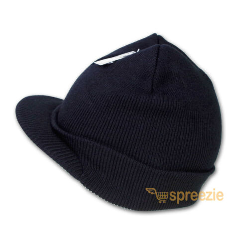 Black Beanie Visor Knitted Skull Cap Hat Colors Wam Winter Ski Snow Headwear New