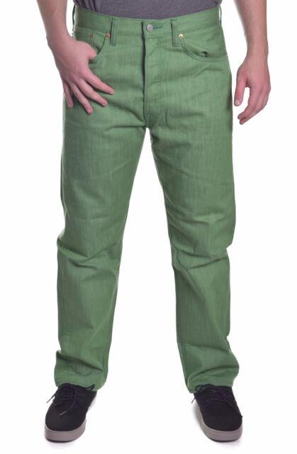Levis Levi s 501 Mens Straight Leg Raw Green Denim Jeans Size 44 X ... d01619406