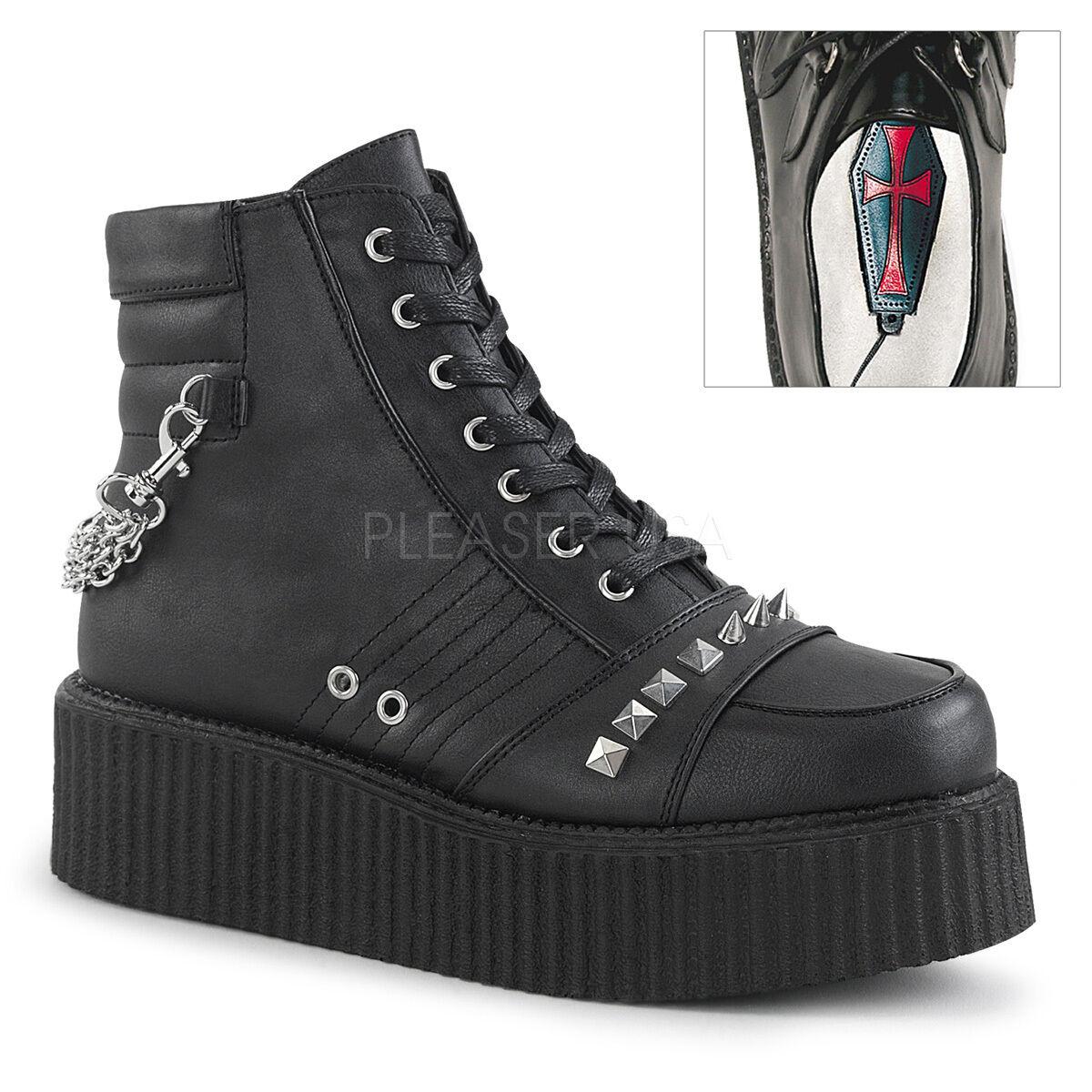 Demonia 2  Vegan Chain Platform Studded Spike Creeper Boots Goth Punk Men's 4-14