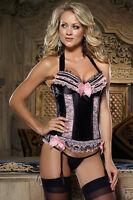 Ladies Satin Dreamgirl Black & Pink Bustier Lace-Up Corset & Thong UK 32 - 38