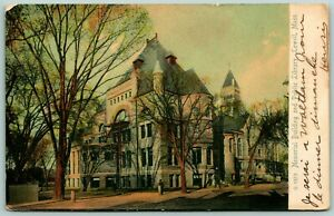 Postcard-Lowell-Massachusetts-Memorial-Building-and-Public-Library-Posted-1905