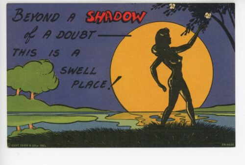 """Shadow of a Doubt"" NUDE SILHOUETTE Girlie Woman Linen PC ca. 1940s"