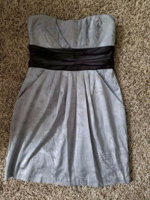 7959bd309530 Speechless gray & gray floral print, strapless formal dress, 5 juniors 2  pockets