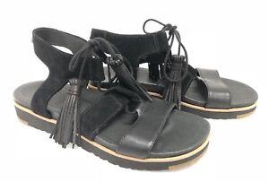 1eca64dd719 Details about Ugg Australia Maryssa Tassel Tie Gladiator Sandal Black  Women's 1019872 ~