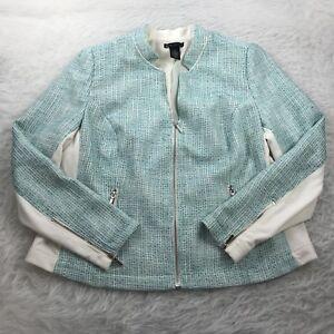 LANE BRYANT Plus Size 16 Blazer Jacket Blue-Green White Woven Stretch Zip-Up