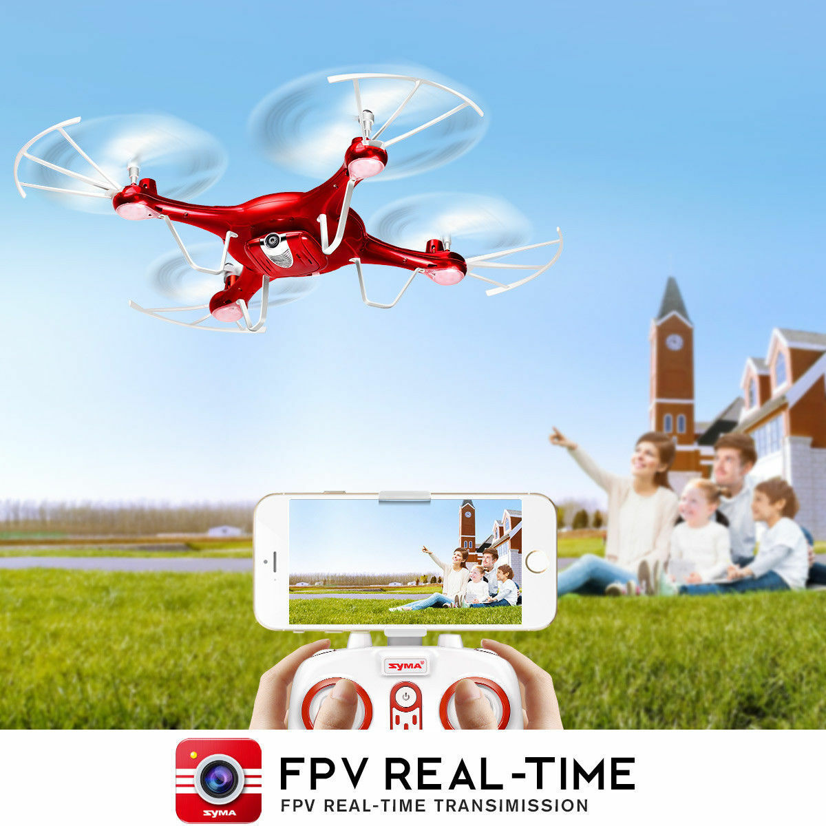 X5UW Syma 720p HD Camera FPV Headless Mode Drone App RC Quadcopter Altitude Hold