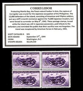 1944-CORREGIDOR-Mint-Never-Hinged-Block-of-Four-Vintage-U-S-Postage-Stamps