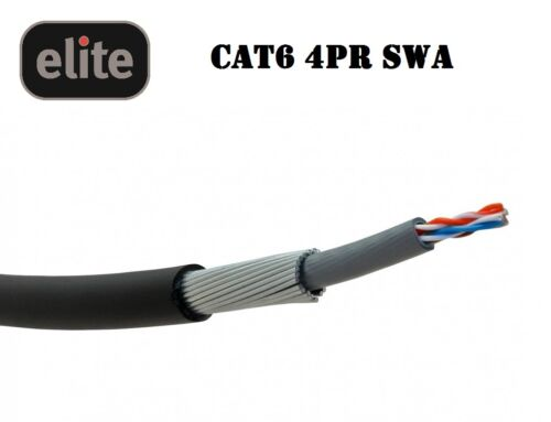 Elite CAT6 SWA Steel Wire Armoured Cable 10 20 30 40 50 60 70 and 80m Lengths