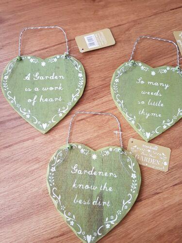 set X 3 gardening plaque gardeners gift plaque sign heart green sass and belle