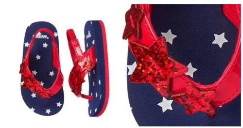 Gymboree Toddler Girls Glitter Red White Blue 4th July Star Flip Flops Sandals