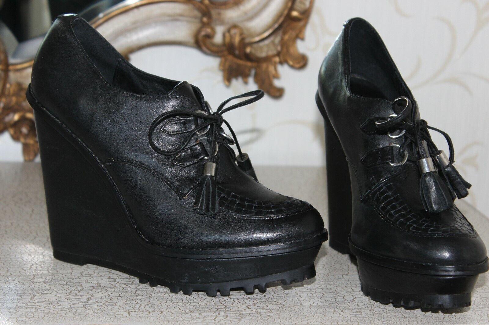 ALDO 100% Black Genuine Leather Ladies Platform Shoes Heels Size 7
