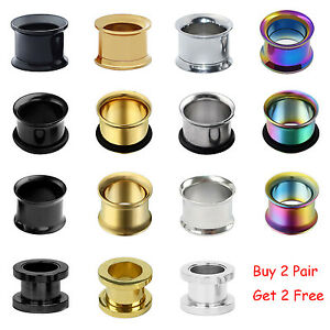 PAIR-Metal-Double-Flared-Screw-Fit-Steel-Ear-Plugs-Flesh-Tunnels-Gauge-Earrings