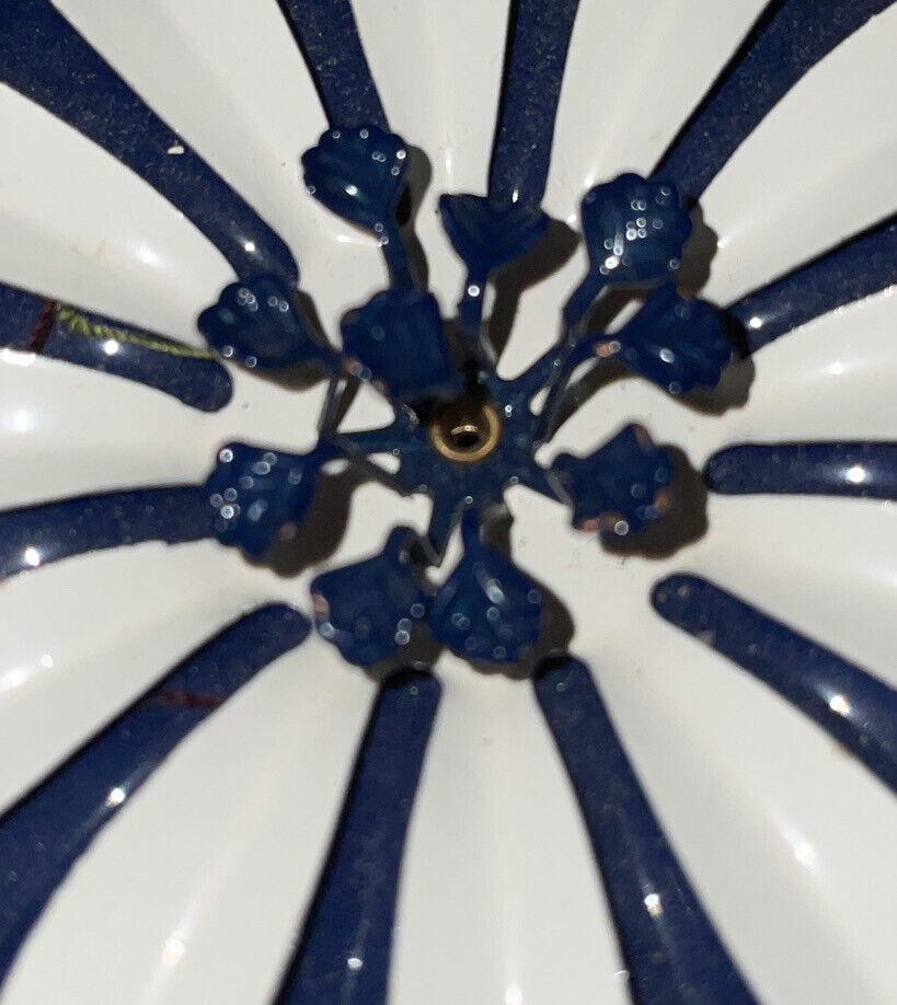 Vintage Art Deco Nouveau Dark Blue White Enamel W… - image 10