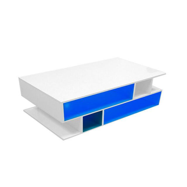 Tv Tables Menard High Gloss Tv Unit: LED High-gloss White Coffee Tea Table Living Room TV Stand