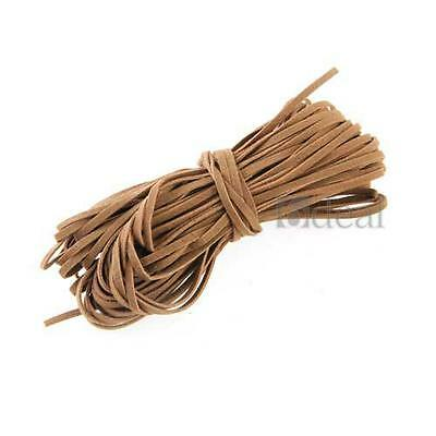 18m Long Brown Faux Suede Artificial Leather Beading Trim Thread Lace Cord 2mm