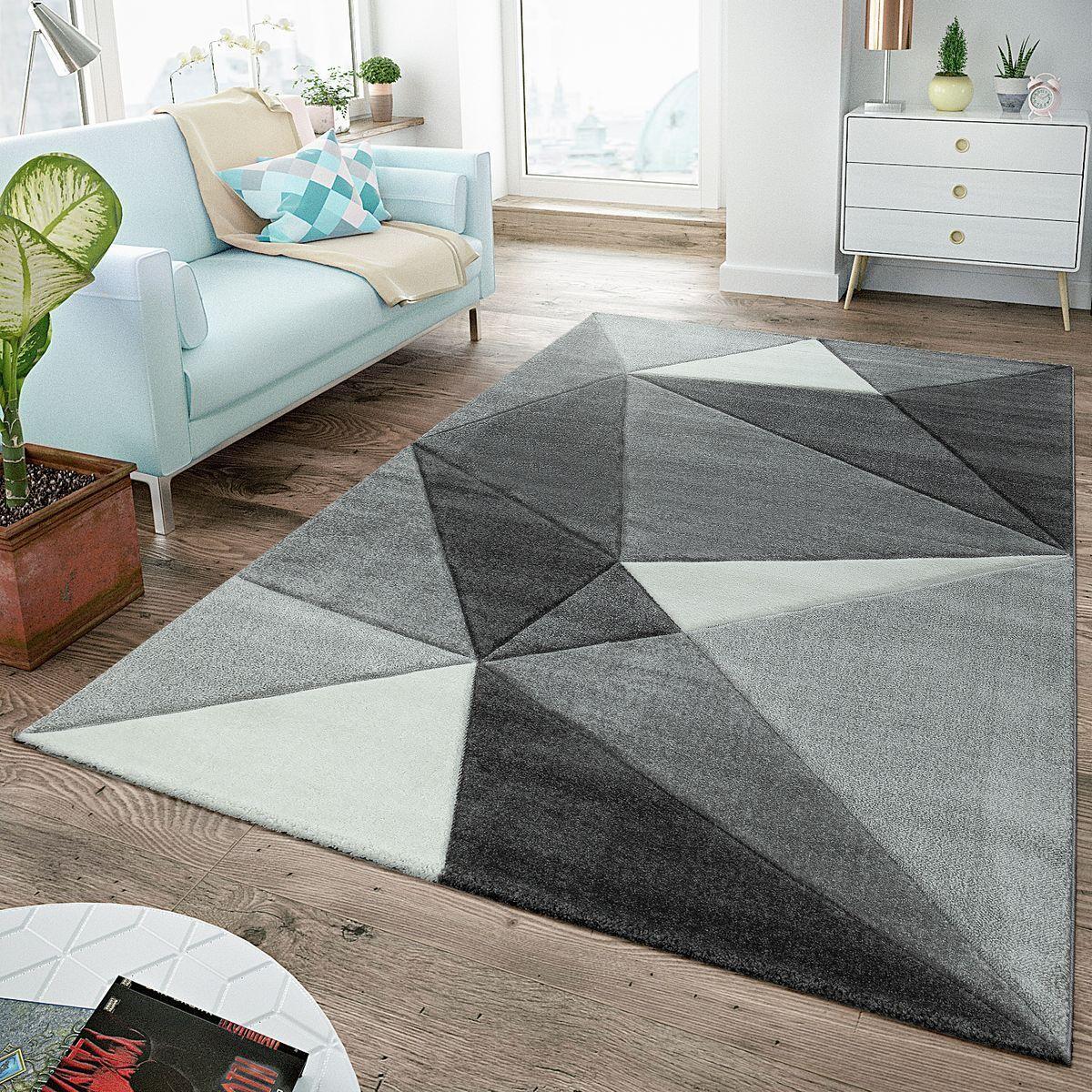Tappeto moderno pelo soggiorno con taglio sagomato triangoli ...